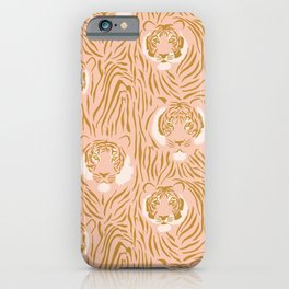 Tigers in Blush + Gold iPhone Case