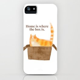 Home is where the box is... orange cat art by tascha iPhone Case