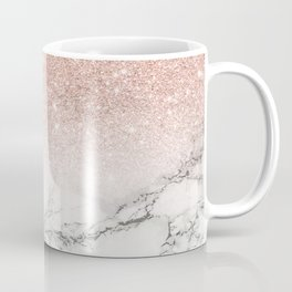 Modern faux rose gold pink glitter ombre white marble Coffee Mug