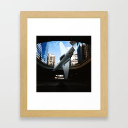 Plane falling pause capture abstract surreal Framed Art Print