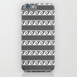 Grey and white Greek wave ornament pattern iPhone Case