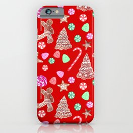 Christmas Gingerbread people and candy canes iPhone Case