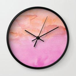 Watercolor Pink Orange Duo Wall Clock