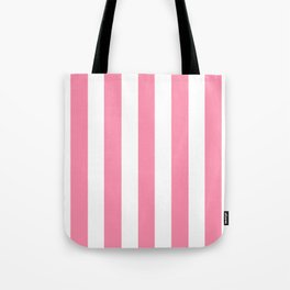 Flamingo pink - solid color - white vertical lines pattern Tote Bag