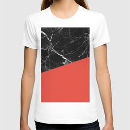 Black Marble with Cherry Tomato Color T-shirt