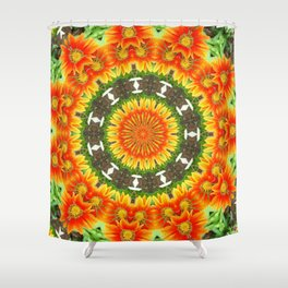 Kaleidoscopic Orange Garden Gazanias Shower Curtain