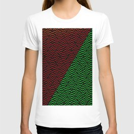 Trippy Triangle Color-Split (Red/Green) T-shirt