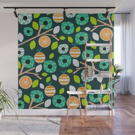 Oranges and flowers Wall Mural