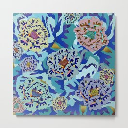 wood block WILD flowers Metal Print