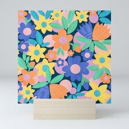 Spring Mod Flowers Pattern Mini Art Print