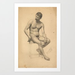 Seated male nude, looking to the left by Gustav Klimt Art Print