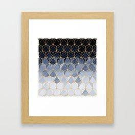 Blue gold hexagonal pattern Framed Art Print