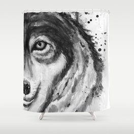 Half-Faced Wolf Close-up Shower Curtain