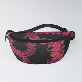 Abstract pastel pattern of pink and blue soap bubbles and gears in bright design on a black backgrou Fanny Pack