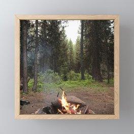 Backpacking Camp Fire Framed Mini Art Print