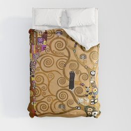 The Kiss, Afternoon, No. 3, Red Poppies, and The Tree of Life portrait painting by Gustav Klimt Comforters