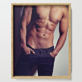 Very sexy man with great body Serving Tray