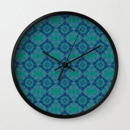 Jade and Blue Repeating Aurora Pattern Wall Clock