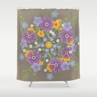 mandela Shower Curtains featuring A mandela of flowers by Bwiselizzy