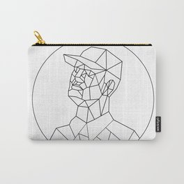 Union Worker Looking Up Low Polygon Black and White Carry-All Pouch
