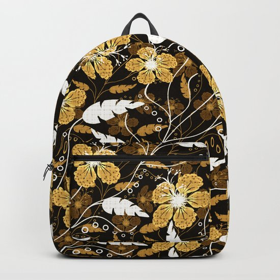 Abstract,floral pattern. Golden flowers on a black background. Backpack