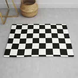 Black White Checker Rug