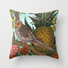 Cockatiel And Pineapple Throw Pillow