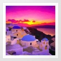 greece Art Prints featuring Greece  by Xchange Art Studio
