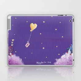 Penguin Sends Love Letter with Heart Balloon to Friend Across Starry Sky Laptop & iPad Skin