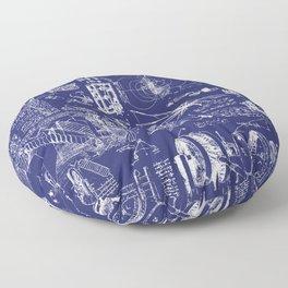 Da Vinci's Sketchbook // Dark Blue Floor Pillow