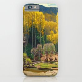 Aspen Trees & Deer, Rocky Mountains Colorado landscape by E. Hennings iPhone Case