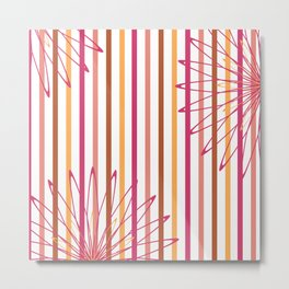 Summer Stripes Floral Graphic Print Metal Print