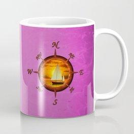 Sailboat And Compass Rose Pink Coffee Mug