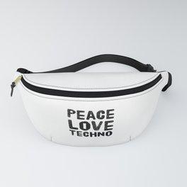Peace Love Techno | Technorave Music Gift Idea Fanny Pack