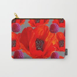 SUCCULENT PURPLE RASPBERRIES & ORANGE POPPIES ABSTRACT Carry-All Pouch
