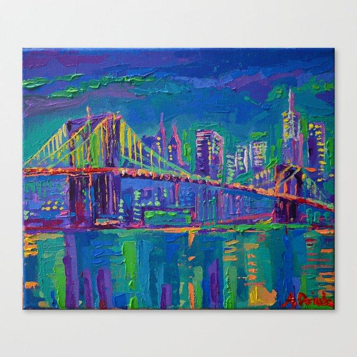 New York City Night Lights Palette Knife Painting Urban Brooklyn Bridge Skyline Canvas Print By Adrianadziubaart
