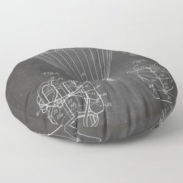 Parachute Patent - Sky Diving Art - Black Chalkboard Floor Pillow