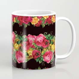 Vertical Rose Floral Garlands in Black Coffee Mug