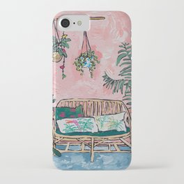 Rattan Bench in Painterly Pink Jungle Room iPhone Case