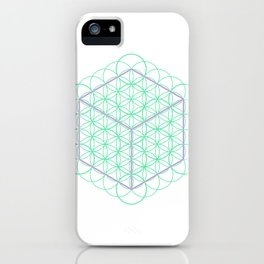 Sacred Geometry - glowing energy lines - cube and flowers iPhone Case