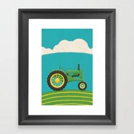 Old Green Tractor Framed Art Print