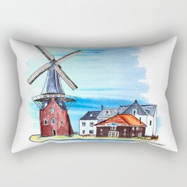 windmill Netherlands watercolor landscape. Rectangular Pillow