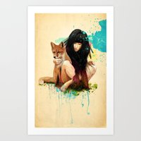 fox Art Prints featuring Fox Love by Ariana Perez