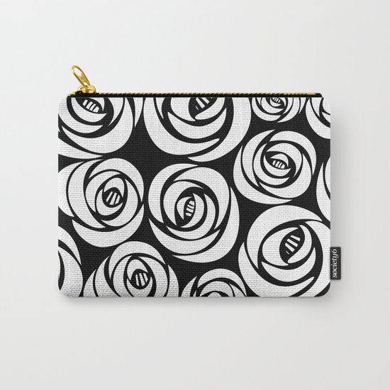 black background with white flowers Carry-All Pouch