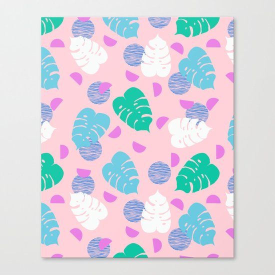 Monstera leaf house plant abstract modern print neon pink pastel summer vacation palm springs  Canvas Print