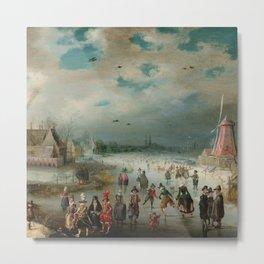 "Adam van Breen ""Skating on the Frozen Amstel River, 1611"" Metal Print"