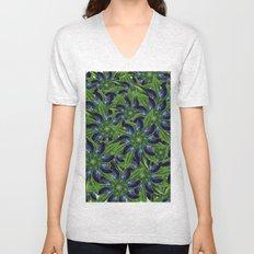Vintage Blue Floral Pattern Collage Unisex V-Neck