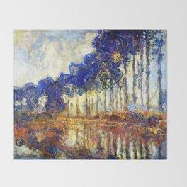 Monet : Poplars on the Banks of the River Epte, 1891 Throw Blanket