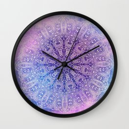 big paisley mandala in light purple Wall Clock