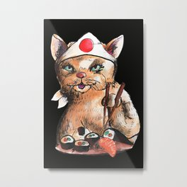 cat eating japanese food Metal Print
